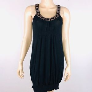 Kensie Rectangle Neckline Accented Black Dress